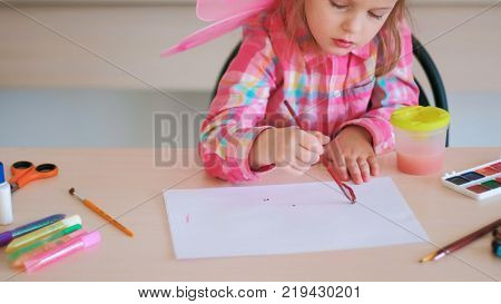 childhood moments drawing hobby concept. little talented artist. art process.