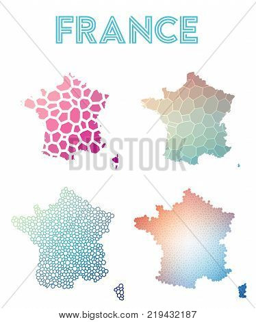 France Polygonal Map. Mosaic Style Maps Collection. Bright Abstract Tessellation, Geometric, Low Pol