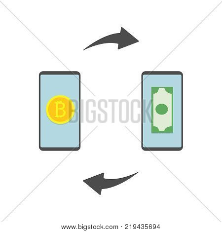 Bitcoin Exchange. Exchange of digital currency bitcoin and dollar. Modern finance economic, cryptocurrency concept. Vector illustration in flat style. Eps10