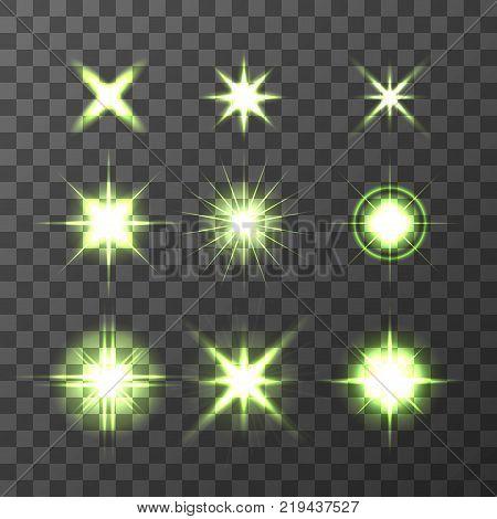 Light Glow Flare Stars Effect Set vector stock illustration