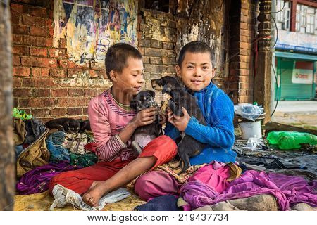 KATHMANDU, NEPAL - OCTOBER 22, 2015 : Homeless children playing with puppies in the street of Kathmandu. At least two million Nepalis remained homeless after the major earthquake on 25 April 2015.