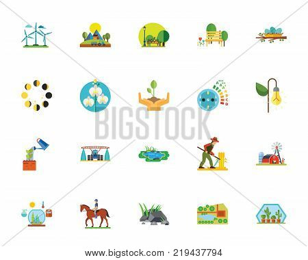 Eco city icon set. Can be used for topics like environment, ecology, farm, ranch