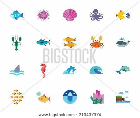 Ocean icon set.Can be used for topics like sea creatures, habitant, fish, wildlife