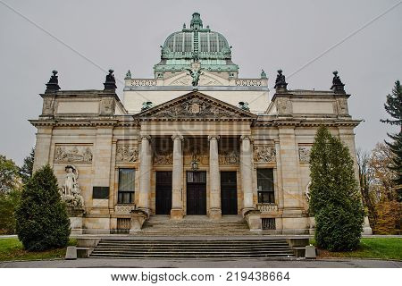 The eclectic building of Hall of Glory currently the Cultural Center in Zgorzelec in Poland