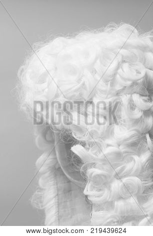 Judge white wig on a gray background.