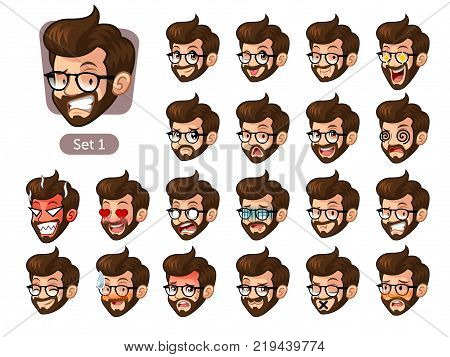 The first set of bearded hipster facial emotions cartoon character design with glasses and different expressions, pleased, rage, in love, ill, silent, grumpy, irritated, shy, worried, etc. vector illustration. poster