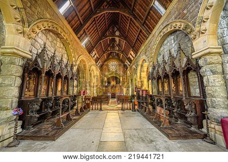 LOCH AWE, SCOTLAND, UNITED KINGDOM - SEPTEMBER 8, 2015: Interior of St Conans Kirk located in Loch Awe, Argyll and Bute, Scotland. Hdr processed.