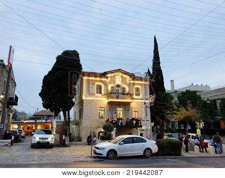 HAIFA, ISRAEL - DECEMBER 22, 2017: Holiday decorations street for Christmas in the German Colony in Haifa, Israel