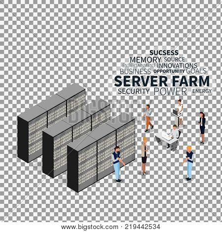 Server farm and isometric people on transparent background. Isometric view of server, data center, server rack, computer server. Vector illustration