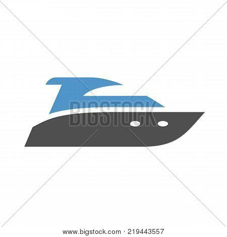 motorboat - gray blue icon isolated on white background
