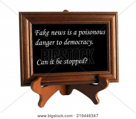 Wooden stand with aphorism about lie and truth as the concept of counteracting against fake news