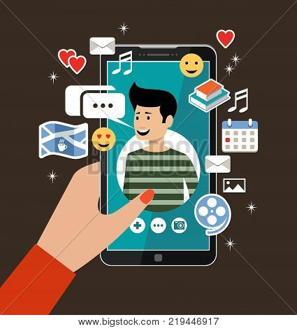 Female hand holds phones with a men's profile. Online dating and social networking concept. Virtual love. Vector illustration