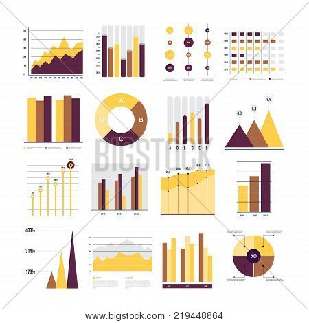 Set of financial and marketing charts. Round and with percentages diagrams showing progress and regression. Color business graph report, information data statistic. Vector illustration.