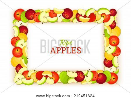 Horizontal rectangle frame composed of delicious apples fruit. Vector card illustration. Rectangle apple frame fruits for packaging design food, juice, jam, ice cream, smoothies, detox cosmetics cream