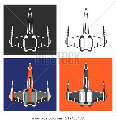 Spaceship fighter battle.The military army jet plane future armed with laser guns.flat linear style a vector.An icon for websites of a fantasy and for games.Futuristic aircraft armed forces.Spacecraft