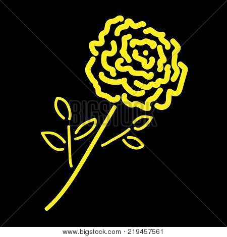 Single gold rose sign. Image of floral. Yellow icon isolated on black background. Bloom flower symbol. Logo for romantic. Florist content. Mark of blossom. Stock vector illustration