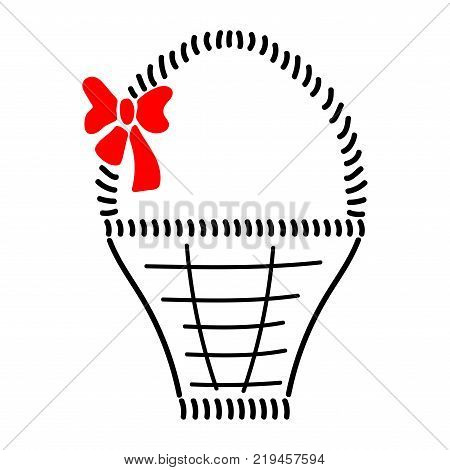 Basket with braid sign. Image of handmade weave. Color icon isolated on white background. Decorative wicker basket with red bow for gift. Logo for invitation or celebration. Stock vector illustration