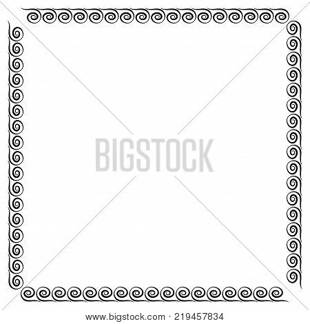 Frame black. Monochrome framework isolated on white background. Decoration concept. Modern art scoreboard. Border from waves. Decoration banner rim. Stock vector illustration