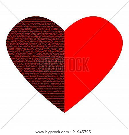 Red heart with lines on black half sign. Beautiful icon isolated on white background. Logo for romantic holiday celebration. Image of romance. Mark of decoration for love. Lovely symbol. Stock vector