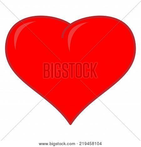 Red heart sign. Mark of decoration for love. Beautiful colorful icon isolated on white background. Lovely symbol. Image of romance. Logo for romantic holiday celebration. Stock vector illustration