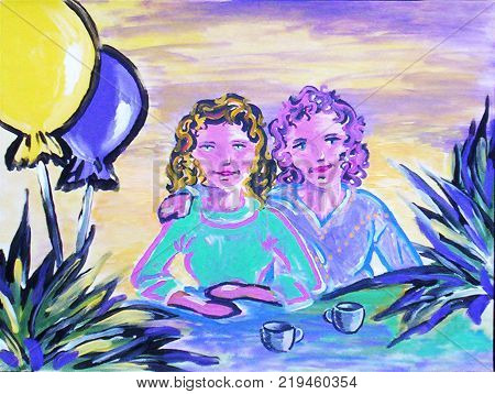 Acrylic painting on canvas of two sisters sitting with coffee cups