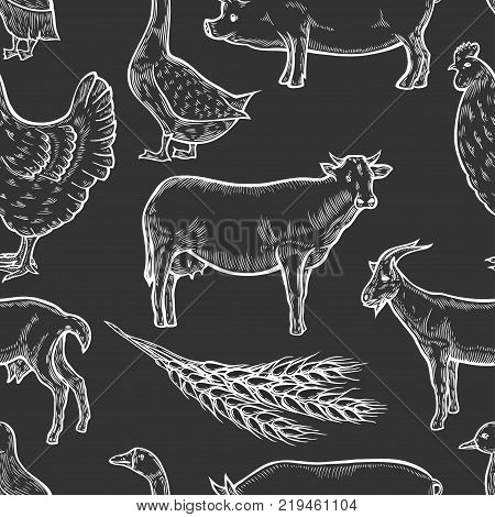 Farm animal seamless pattern background. Fresh organic meat. Cow, goat, pig, hen, goose, duck. Hand drawn sketch. Vintage vector engraving illustration for wallpaper, poster, web.