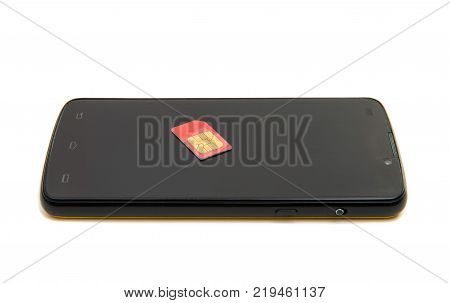 smartphone with sim card on white background