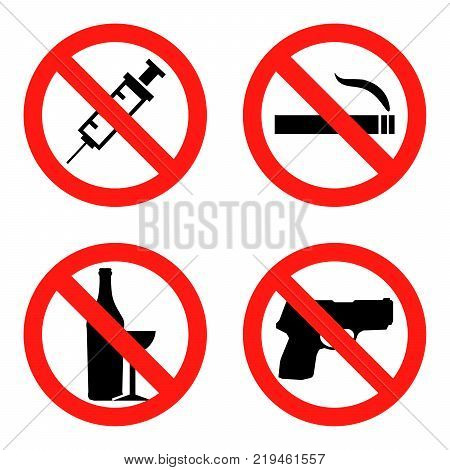 Forbidding  Signs No Smoking , No Drugs , No Weapon and No Alcohol Flat design  Illustration