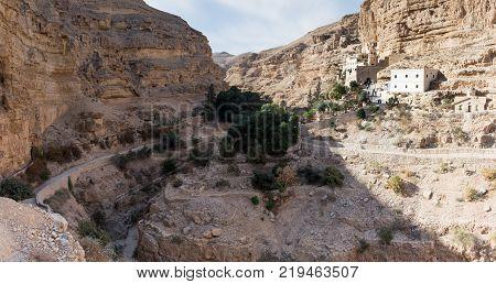 Near Mitzpe Yeriho Israel November 25 2017 : The monastery of St. George Hosevit (Mar Jaris) standing near Mitzpe Yeriho in Israel