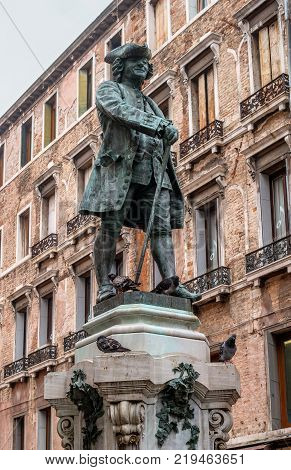 Venice, Italy - October 13, 2017: The monument of Carlo Goldoni. Carlo Goldoni is a great Italian playwright and librettist. In Venice, Goldoni began his own lawyer practice.