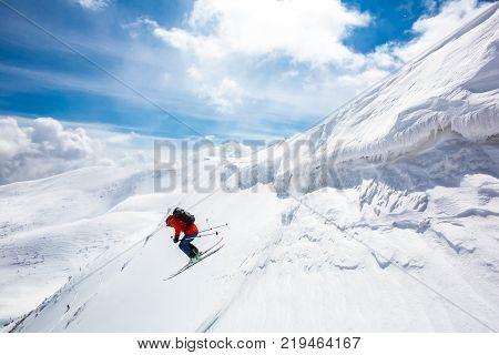 good skiing in the snowy mountains Carpathians Ukraine good winter day incredible ski jump ski season