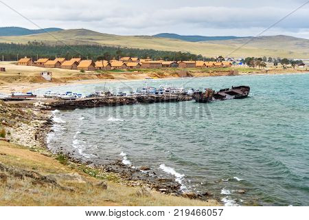 Pier With Ships In Khuzhir Village On Olkhon Island, Siberia, Russia