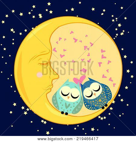 cute cartoon sleeping owls in circles with closed eyes sits on a drowsy crescent among the stars
