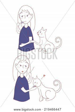 Cat Asking Girl for Food. Vector Illustration. isolated in White Background.