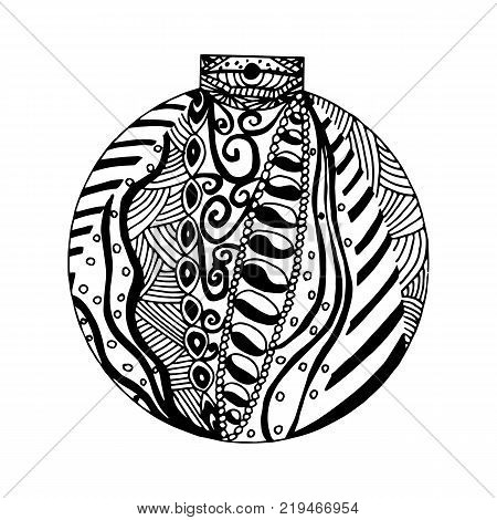 Handdrawn black and white ball with different pattern elements. Zentangle inspired