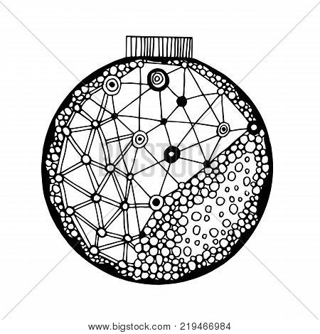 Handdrawn black and white ball with geometric pattern