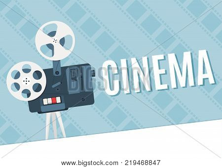 Old cinema projector. Template for banner flyer or poster. Vector illustration