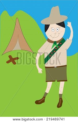 Boy scout illustrated in uniform with badges standing outdoors saluting with tent and campfire.