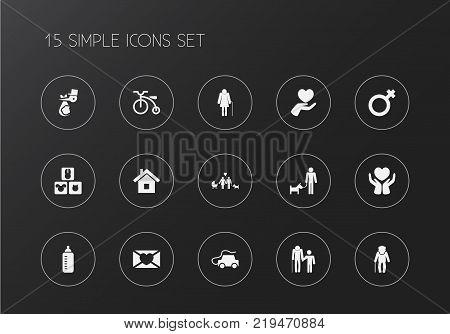 Set of 15 editable relatives icons. Includes symbols such as relations, save love, grandma. Can be used for web, mobile, UI and infographic design.