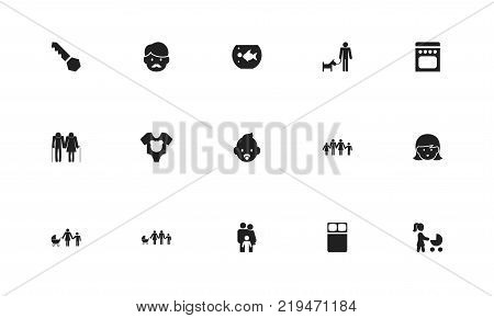 Set of 15 editable family icons. Includes symbols such as double bed, stroller, cooker and more. Can be used for web, mobile, UI and infographic design.