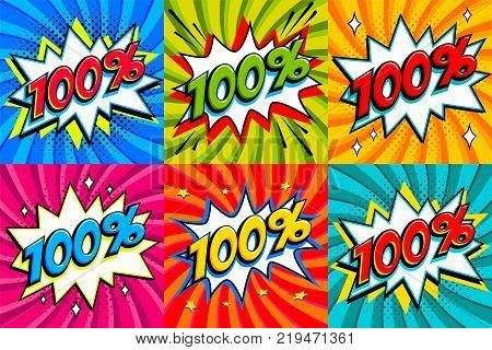 Sale set. Sale one hundred percent 100 off tags on a Comics style bang shape background. Pop art comic discount promotion banners. Seasonal discounts, Black Friday, cyber monday. Vector illustration