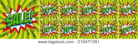 Big green color sale set. Sale inscription and all percent numbers. Red and green colors. Pop-art comics style web banners, flash animation, stickers, tags. Vector illustration