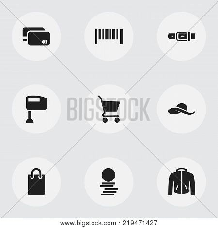 Set of 9 editable trade icons. Includes symbols such as stir, strap, clothes and more. Can be used for web, mobile, UI and infographic design.