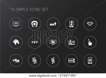 Set of 15 editable casino icons. Includes symbols such as cards, brilliant, greenback and more. Can be used for web, mobile, UI and infographic design.