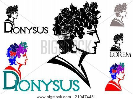 Dionysus - God of wine logo(with grapes and leaves in her hair)