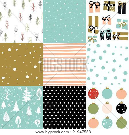 Merry Christmas patten set and vector illustration