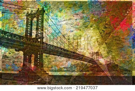 Manhattan Bridge Painterly Landscape. 3D rendering