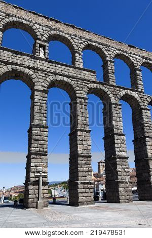 View of the antique Roman aqueduct in Segovia Spain