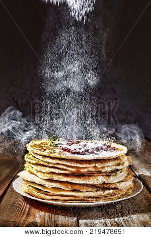 Bakery. Fresh bakery. Pancakes. International Pancake Day on 28 February. Russian pancakes, Shrovetide Mardi Gras