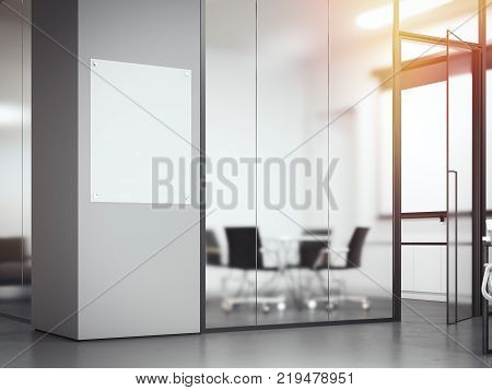 Signboard at the office with frosted glass partitions. 3d rendering